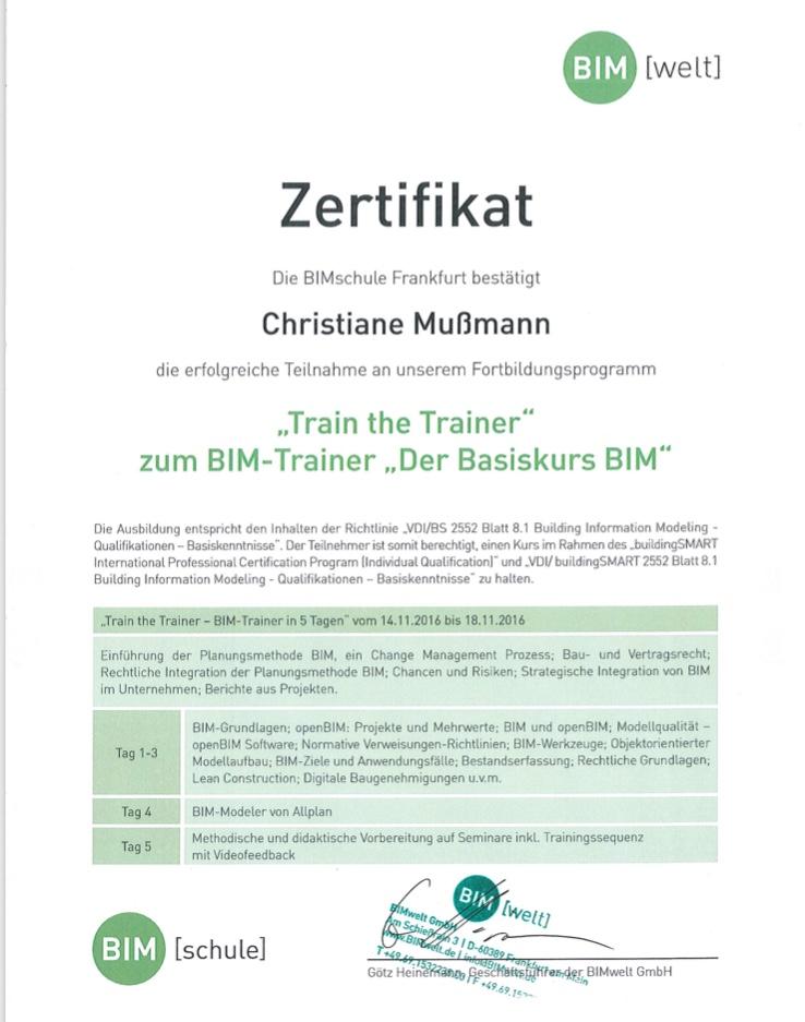 BIM Trainer Zertifizierung BIM Basiskurs